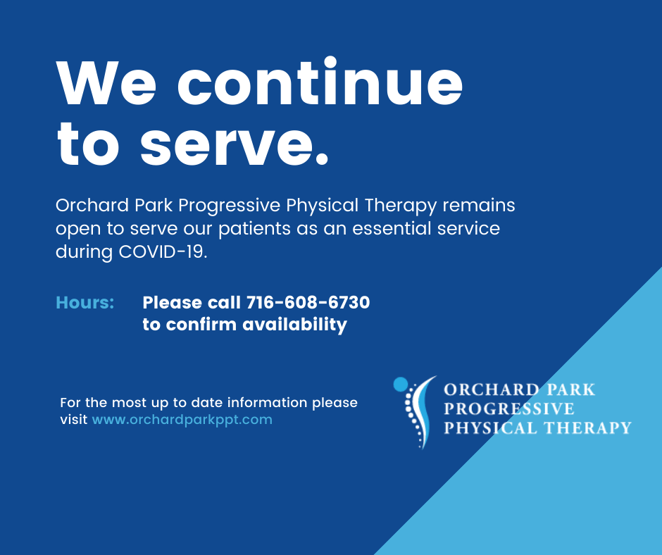 Orchard Park Progressive Physical Therapy remains open during Coronavirus Pandemic